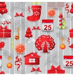 Christmas seamless pattern with tree house bird vector image vector image
