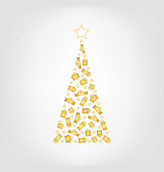 christmas tree from golden gift box and snowflake vector image vector image