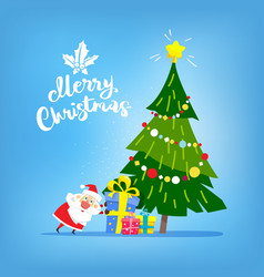 christmas tree with gifts and santa claus merry vector image vector image