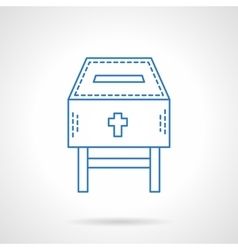 Church fundraising blue flat line icon vector
