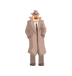 Detective character standing private investigator vector