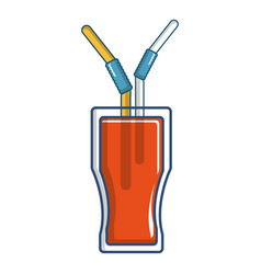 drink in a glass cup with two straws icon vector image