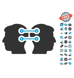 Dual heads interface connection icon with free vector