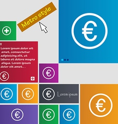 Euro icon sign Metro style buttons Modern vector image vector image