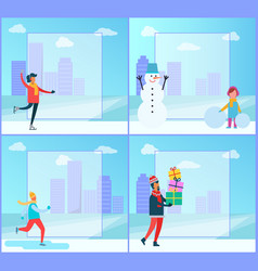 figure-skating and cityscape vector image