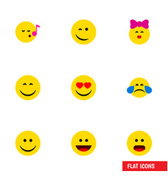 flat icon face set of laugh love joy and other vector image vector image