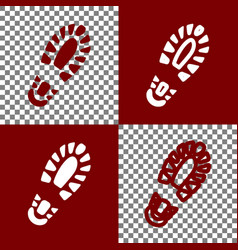 Footprint boot sign bordo and white icons vector