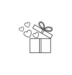 Gift box with hearts line icon love present vector