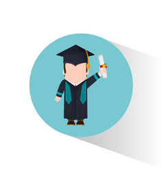 Graduate student holding certificate vector