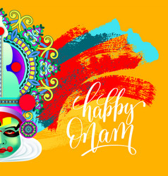 Happy onam greeting card with indian kathakali vector