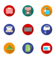 Household appliances set icons in flat style Big vector image