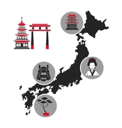 Japan map landmark tourism icons vector