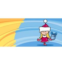 little girl santa greeting card cartoon vector image vector image