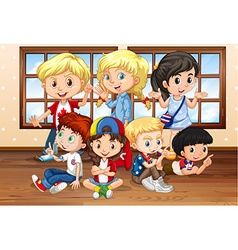 Many children in classroom vector