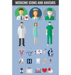 Medicine icons and avatars set vector image vector image