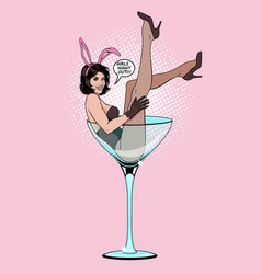 Pin up girl in martini glass vector