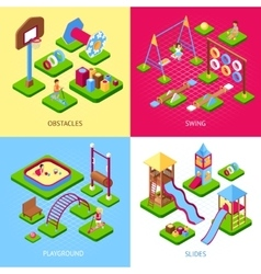 Playground 2x2 images set vector