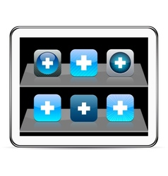 Plus blue app icons vector
