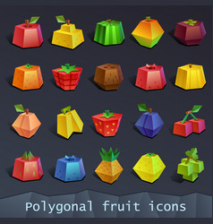 polygonal fruit icons vector image vector image