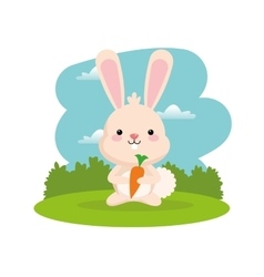 Rabbit cartoon icon woodland animal vector