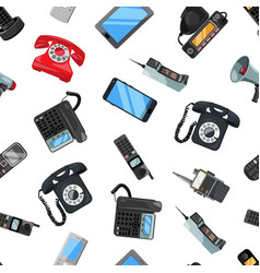 seamless pattern of different telephones vector image vector image