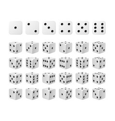 Set of 24 icons of dice in all possible turns vector
