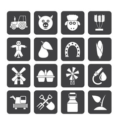 Silhouette Agriculture and farming icons vector image