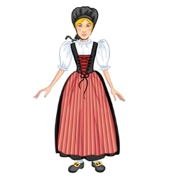 Young woman in Swiss national costume vector image vector image
