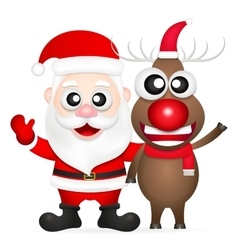 Santa claus and red nosed reindeer vector