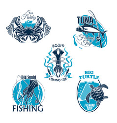 fishing trip or club icons or badges set vector image