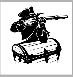 Pirate with a gun vector