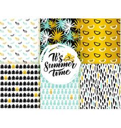 Summer time seamless patterns vector