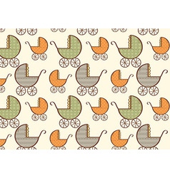 Hand drawn baby carriage pattern vector image