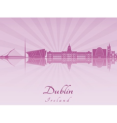 Dublin skyline in purple radiant orchid vector image