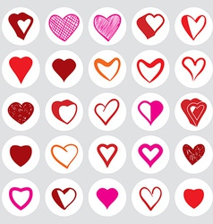 25 heart round icons vector