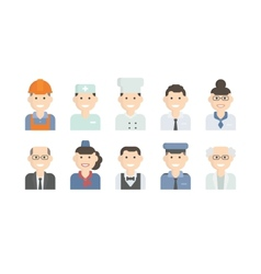 Set flat icons with man of different professions vector