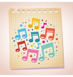 Happy music notes note paper cartoon vector