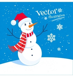 Snowman and snowflakes vector image