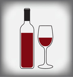Wine bottle with glass vector