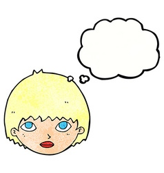 Cartoon girl staring with thought bubble vector