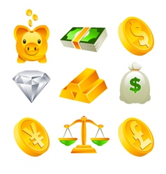 Gold money and financial icons vector