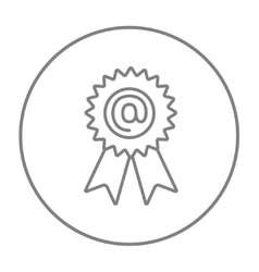 Award with at sign line icon vector