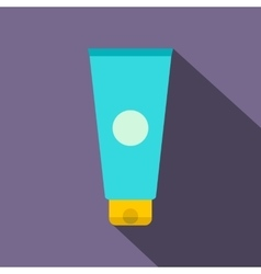 Blue cosmetic tube flat icon vector