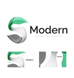 Abstract ribbon logo with business card vector