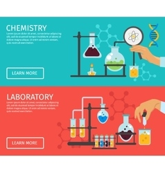 Professor of chemistry flat banner set vector