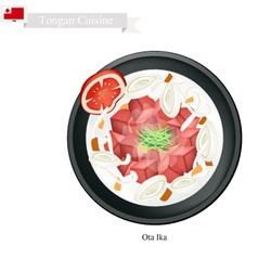 Ota ika or tongan raw fish in coconut cream vector
