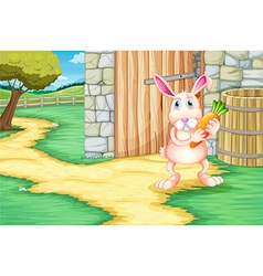 A bunny holding a carrot outside the barn vector image vector image