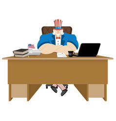American patriot boss uncle sam sitting in office vector