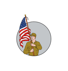 American soldier holding usa flag circle drawing vector