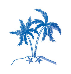 Blue shading silhouette of island with palms tree vector